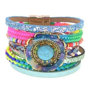 Jewelry - Bohemian colorful leather bracelet